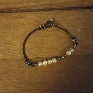 Silpada sterling cord and pearl bracelet